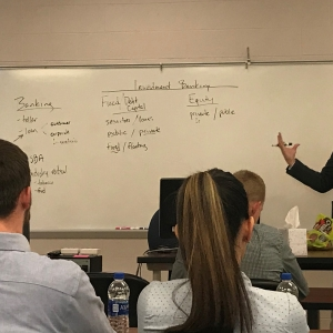 Bill Herrell gives a lecture in EKU Finance course